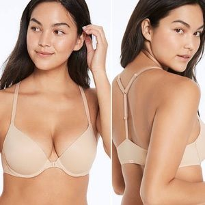 NWT VS Pink • Hook-front Nude Push-Up Bra.